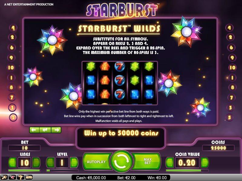 Spela Starburst spelautomat på nätet på Casino.com Sverige