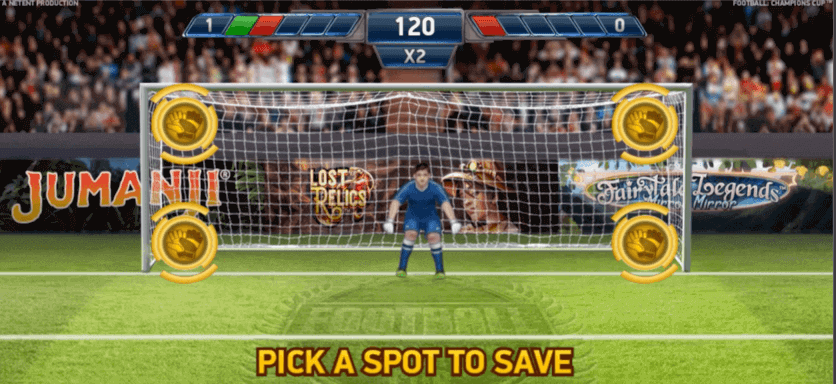 Football Champions Cup slot - bonusspel straffsparkar