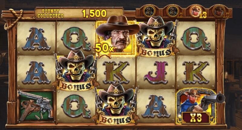 Cowboy Gold spelplan med symboler